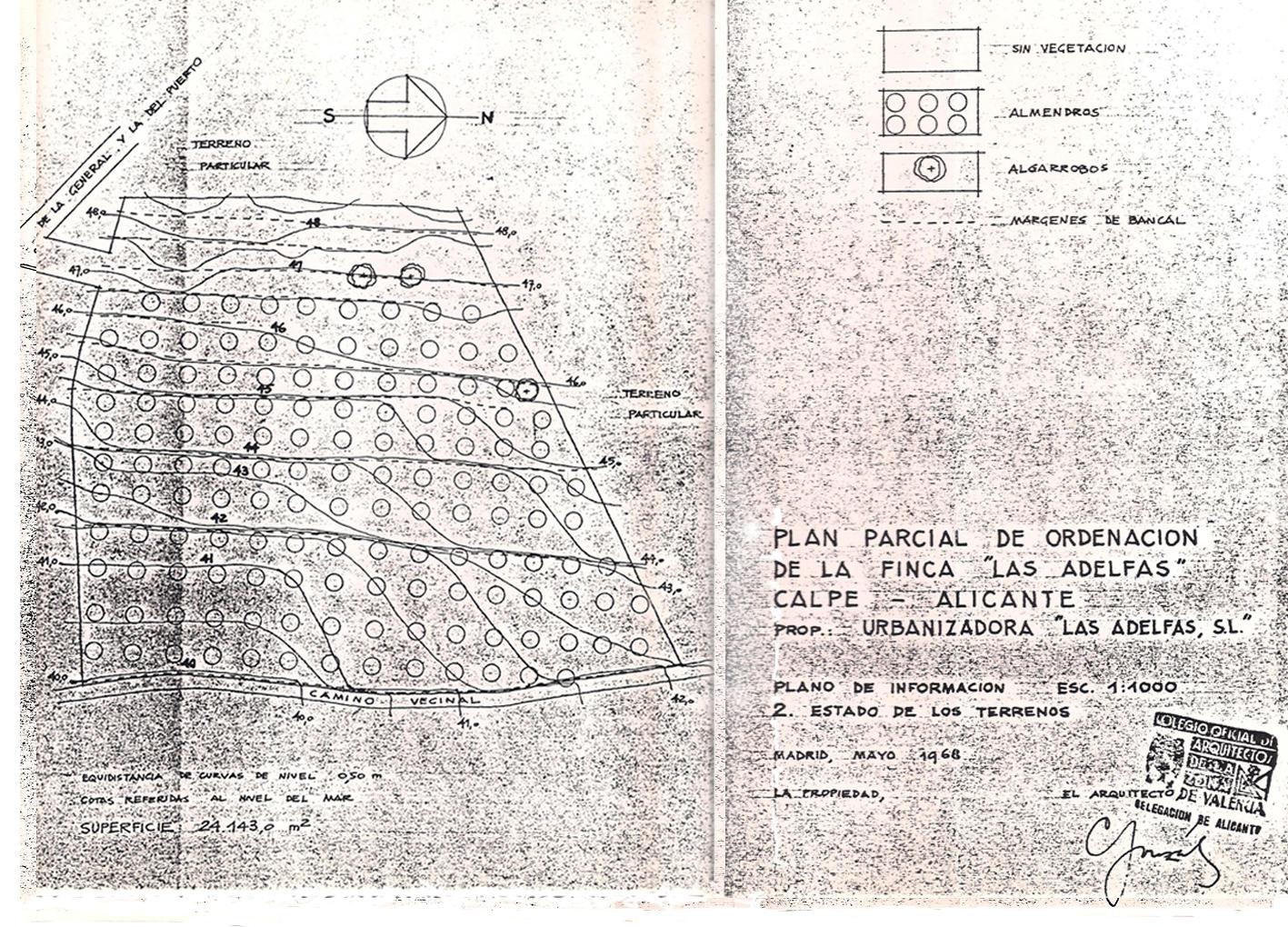 Plano Plan Parcial Urbanización Las Adelfas, 1968. Solar original. Pincha