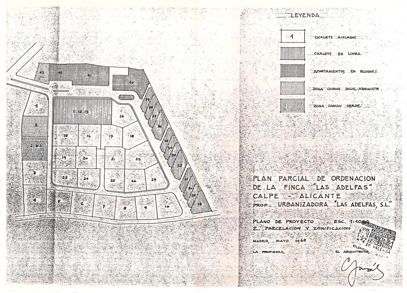 Plano Plan Parcial Urbanización Las Adelfas, 1968. Parcelario. Pincha