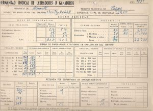 Estadística agrícola de la Junta de la Hermandad de Labradores y ganaderos de Calp. 1952- Pincha