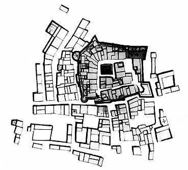 Recinto medieval amurallado y 115 casas que conformaban los arrabales de la villa de Calpe, hacia 1744. (AGS)