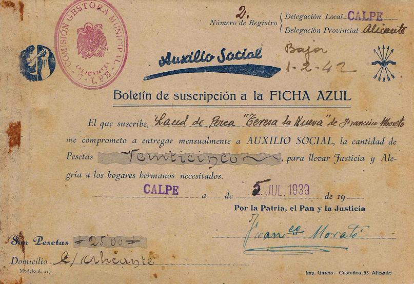 """Boletín de suscripción, Ficha Azul de Auxilio Social- Laúd de pesca """"Teresa la Nueva"""" de Francisco Morató."""